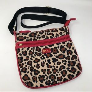 Luv Betsey Johnson, Leopard w/red piping Crossbody